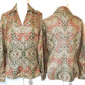Ann Taylor button up blouse, Sz 10, kaleidoscope